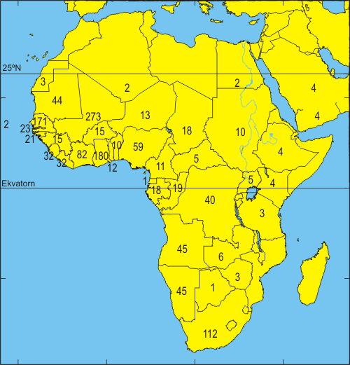 karta afrika ekvatorn Recoveries in Africa   Naturhistoriska riksmuseet karta afrika ekvatorn