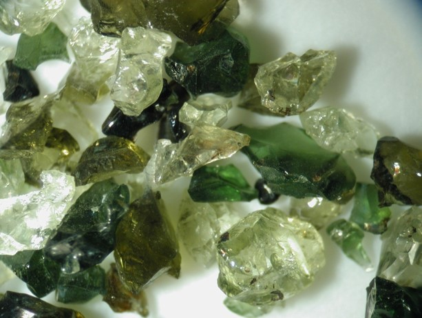 Water-containing minerals (pyroxene and olivine) from Earth's mantle.