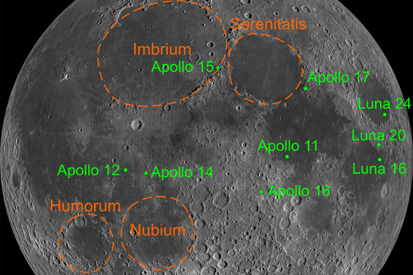Map of lunar impact basins and sampling locations of the Apollo and Luna missions.