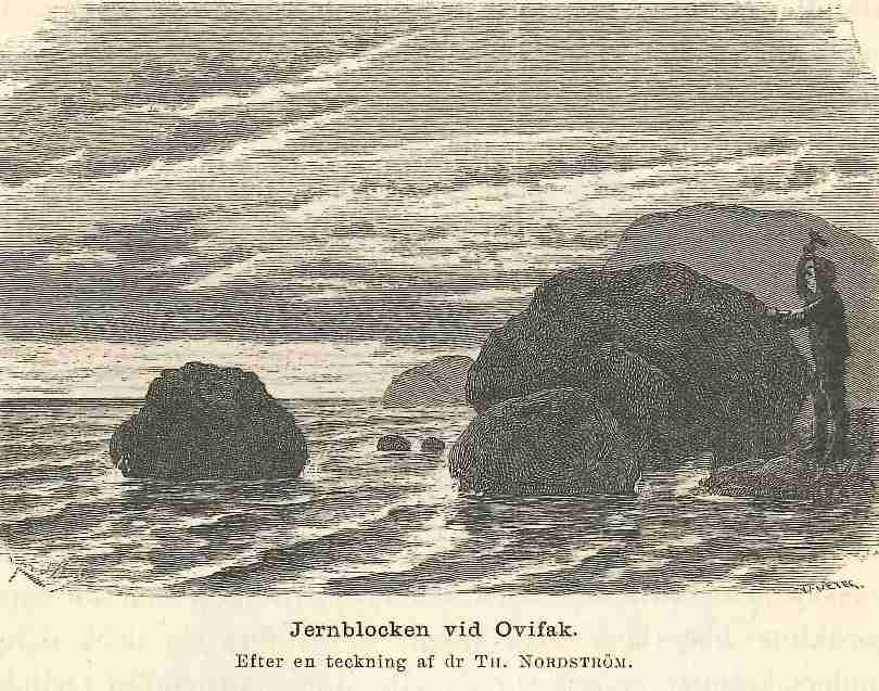 The iron boulders on the shore at Ovifak, Disko Island, western Greenland.