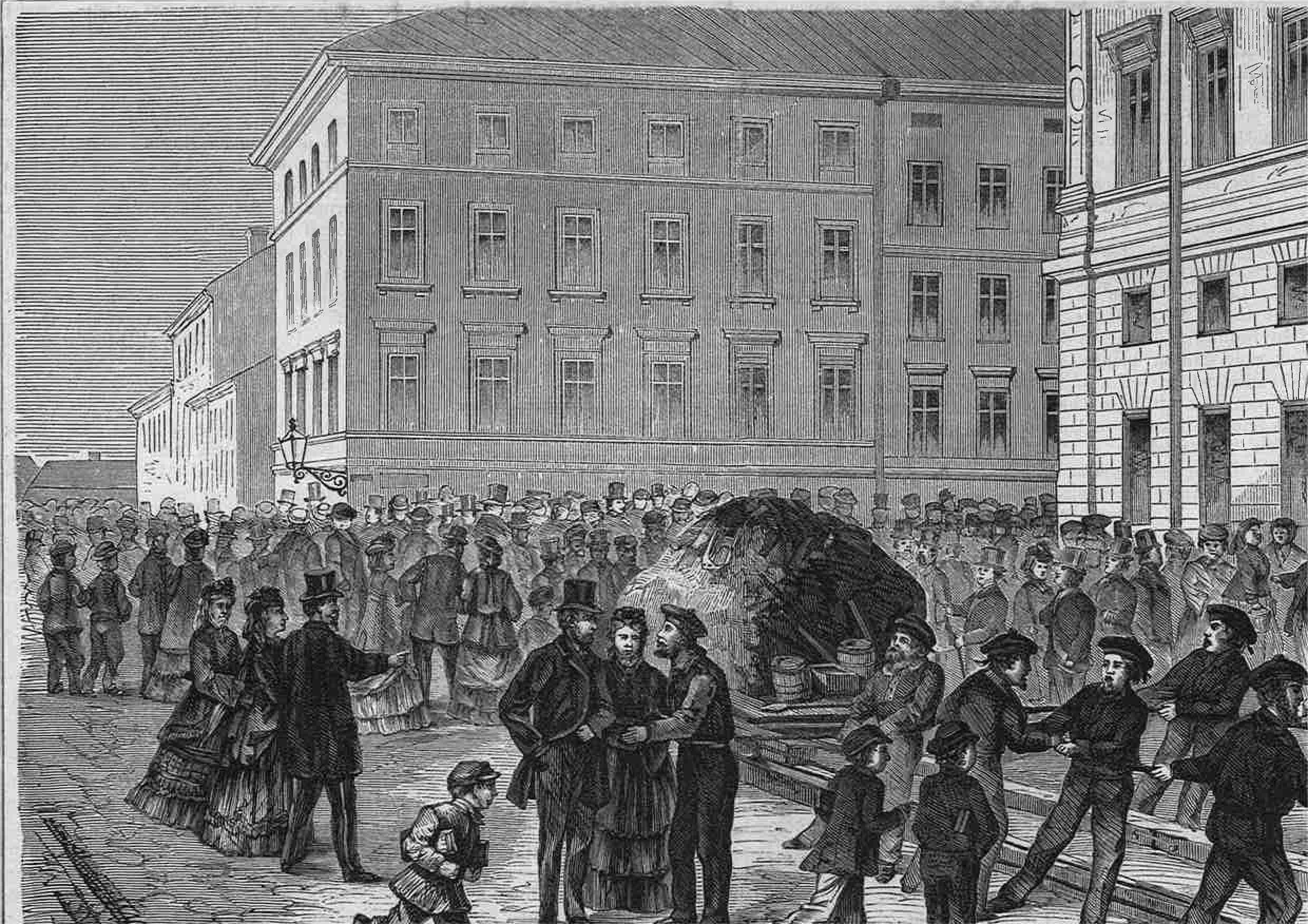 The biggest iron boulder on its arrival in Stockholm in 1871.