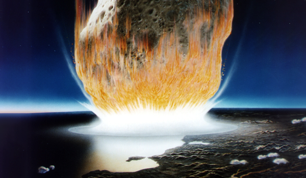 En illustration av en massiv asteroid som kraschar in i jorden. Av Don Davis/Nasa